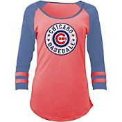 5th & Ocean Women's Chicago Cubs Red Tri-Blend Three-Quarter Sleeve Shirt