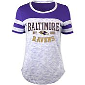 5th & Ocean Women's Baltimore Ravens Space Dye Purple T-Shirt