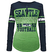 5th & Ocean Women's Seattle Seahawks Tri-Blend Henley Long Sleeve Shirt
