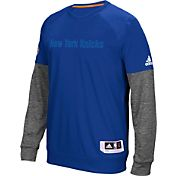 adidas Men's New York Knicks On-Court Royal/Grey Long Sleeve Shooting Shirt