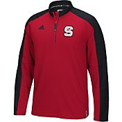 adidas Men's NC State Wolfpack Red/White Sideline Long Sleeve Quarter-Zip Shirt