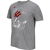 adidas Men's Indiana Hoosiers Grey Football Helmet T-Shirt