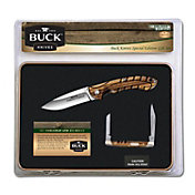 Buck Knives Zebra Wood 2 Folding Knife and Tin Package
