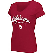 Colosseum Athletics Women's Oklahoma Sooners Crimson Script Graphic V-Neck T-Shirt