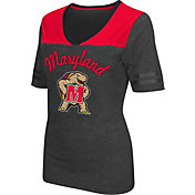 Colosseum Athletics Women's Maryland Terrapins Grey Twist V-Neck T-Shirt