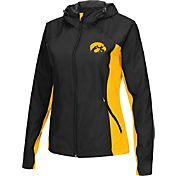 Colosseum Athletics Women's Iowa Hawkeyes Black/Gold Step Out Windbreaker