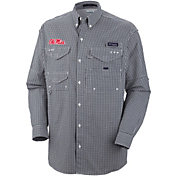 Columbia Men's Ole Miss Rebels Blue Plaid Super Bonehead Long Sleeve Shirt