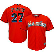 Majestic Men's Replica Miami Marlins Giancarlo Stanton #27 Cool Base Alternate Orange Jersey