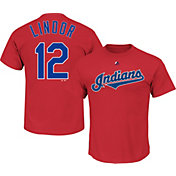 Majestic Men's Cleveland Indians Francisco Lindor #12 Red T-Shirt
