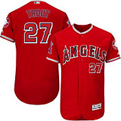 Majestic Men's Authentic Los Angeles Angels Mike Trout #27 Alternate Red Flex Base On-Field Jersey