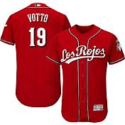 Majestic Men's Authentic Cincinnati Reds Joey Votto #19 Alternate Los Rojos Red Flex Base On-Field Jersey