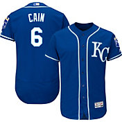 Majestic Men's Authentic Kansas City Royals Lorenzo Cain #6 Alternate Royal Flex Base On-Field Jersey