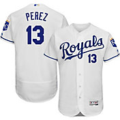 Majestic Men's Authentic Kansas City Royals Salvador Perez #13 Home White Flex Base On-Field Jersey