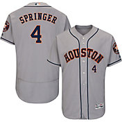 Majestic Men's Authentic Houston Astros George Springer #4 Road Grey Flex Base On-Field Jersey