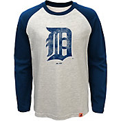 Majestic Youth Detroit Tigers White Raglan Long Sleeve Shirt
