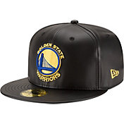 New Era Men's Golden State Warriors 59Fifty Black Leather Fitted Hat