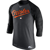 Nike Men's Baltimore Orioles Dri-FIT Authentic Collection Grey Legend Three-Quarter Shirt