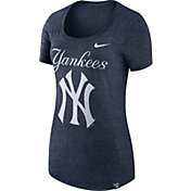 Nike Women's New York Yankees Marled Navy Boyfriend Scoop Neck T-Shirt