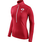 Nike Women's Georgia Bulldogs Red Pro Hyperwarm Half-Zip Shirt