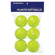 "PRIMED 12"" Plastic Yellow Training Softballs - 6 Pack"