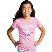 Soft As A Grape Youth Girls' Los Angeles Dodgers Pink V-Neck Shirt