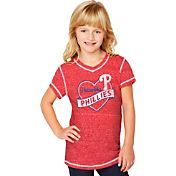 Soft As A Grape Youth Girls' Philadelphia Phillies Red V-Neck Shirt