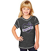 Soft As A Grape Youth Girls' Colorado Rockies Black V-Neck Shirt