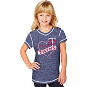 Soft As A Grape Youth Girls' Minnesota Twins Navy V-Neck Shirt