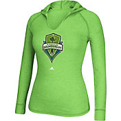 adidas Women's Seattle Sounders Green Long Sleeve Hooded T-Shirt