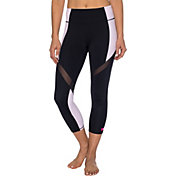 Betsey Johnson Performance Women's Wrap-Around Mesh Color-Blocked Capris Leggings