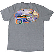 Guy Harvey Men's Miami Hurricanes Heathered Grey Fishing Club T-Shirt