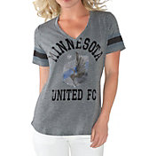 G-III For Her Women's Minnesota United FC Triple Play Grey T-Shirt