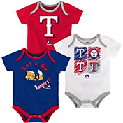 Majestic Infant Texas Rangers 3-Piece Onesie Set