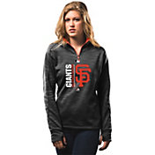 Majestic Women's San Francisco Giants Therma Base On-Field Black Authentic Collection Quarter-Zip Pullover