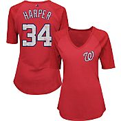 Majestic Women's Washington Nationals Bryce Harper #34 Red Raglan V-Neck Half-Length Sleeve Shirt