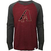 Majestic Youth Arizona Diamondbacks Red/Grey Raglan Three-Quarter Sleeve Shirt