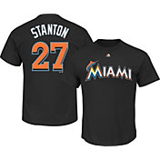 Majestic Youth Miami Marlins Giancarlo Stanton #27 Black T-Shirt