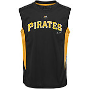 Majestic Youth Pittsburgh Pirates Cool Base Foul Line Black Performance Sleeveless Shirt