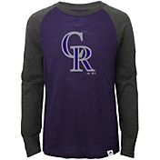 Majestic Youth Colorado Rockies Purple/Grey Raglan Three-Quarter Sleeve Shirt