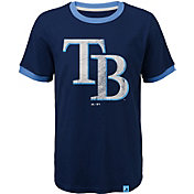 Majestic Youth Tampa Bay Rays Ringer Navy T-Shirt