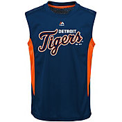 Majestic Youth Detroit Tigers Cool Base Foul Line Navy Performance Sleeveless Shirt