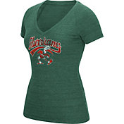 adidas Women's Miami Hurricanes Green Scribble V-Neck T-Shirt