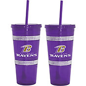 Boelter Baltimore Ravens Bling 22oz Straw Tumbler 2-Pack