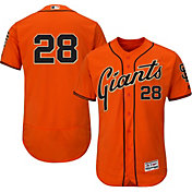 Majestic Men's Authentic San Francisco Giants Buster Posey #28 Alternate Orange Flex Base On-Field Jersey
