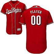 Majestic Men's Full Roster Authentic Cincinnati Reds Flex Base Alternate Los Rojos Red On-Field Jersey