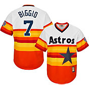 Majestic Men's Replica Houston Astros Craig Biggio Cool Base Rainbow Cooperstown Jersey w/ 2015 Hall-of-Fame Patch