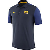 Nike Men's Michigan Wolverines Blue Team Issue Football Sideline Performance Polo
