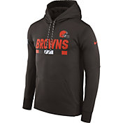 Nike Men's Cleveland Browns Sideline 2017 Therma-FIT Brown Performance Hoodie