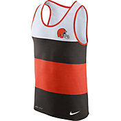 Nike Men's Cleveland Browns Wide Stripe Performance Orange Tank Top
