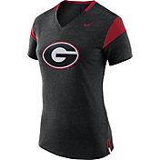 Nike Women's Georgia Bulldogs Black/Red Fan V-Neck T-Shirt